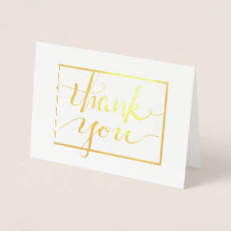 Calligraphy Thank You in Frame Foil Card
