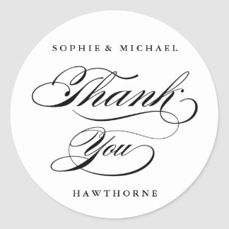 Calligraphy thank you sticker
