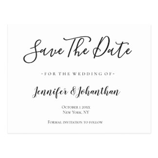 Calligraphy typography wedding save the date cards