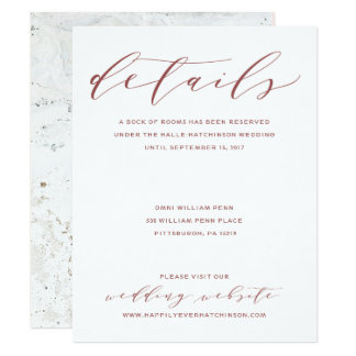 Calligraphy Wedding Details Card | Burgundy