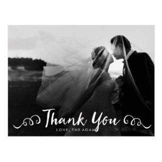 Calligraphy Wedding Photo Thank You Card Postcard