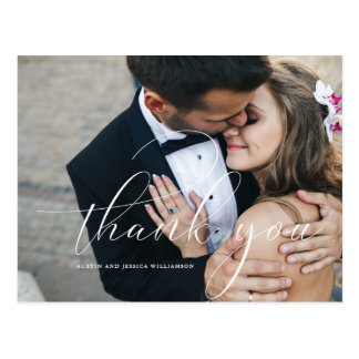 Calligraphy Wedding Thank You Post Card