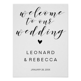 Calligraphy Welcome wedding sign black and white Poster