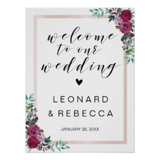 Calligraphy Welcome wedding sign roses frame Poster