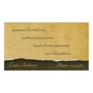 Calling Card Made of Torn Antique Paper Pack Of Standard Business Cards