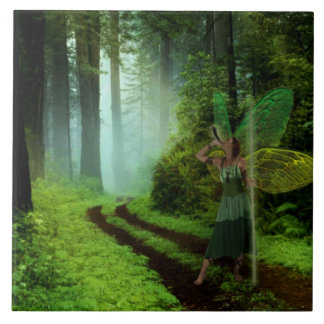 Calling the Fairies Large Square Tile