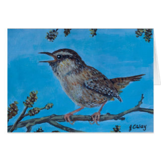 Calling Wren artwork by Joanne Casey Greeting Card