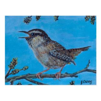 Calling Wren Irish Art by Joanne Casey Postcard