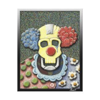 Callous the Crying Clown-Color Pointillism/Gouache Canvas Print