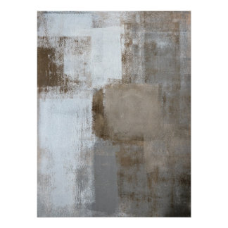 'Calm and Neutral' Grey and Beige Abstract Art Poster
