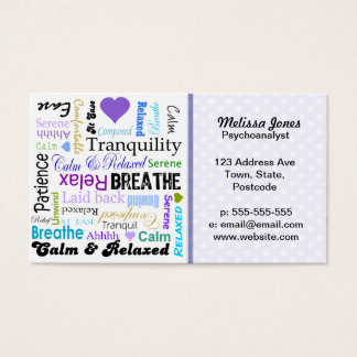Calm and Relaxing positive words typography Business Card