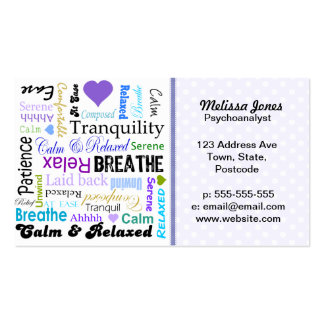 Calm and Relaxing positive words typography Business Cards