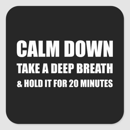 Calm Down Deep Breath Hold Minutes Square Sticker