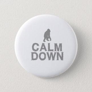 Calm Down. Grey Monkey Design 6 Cm Round Badge