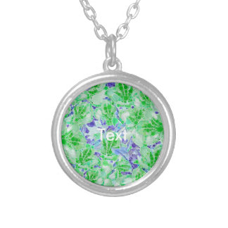 Calm Green Blue Abstract Flowers Round Pendant Necklace