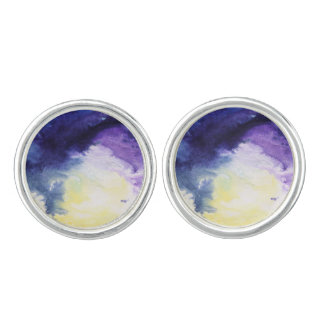 Calm happy blue yellow white abstract painting cufflinks