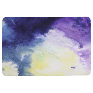 Calm happy blue yellow white abstract painting floor mat