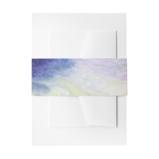 Calm happy blue yellow white abstract painting invitation belly band