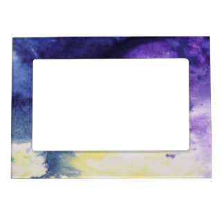 Calm happy blue yellow white abstract painting magnetic frame