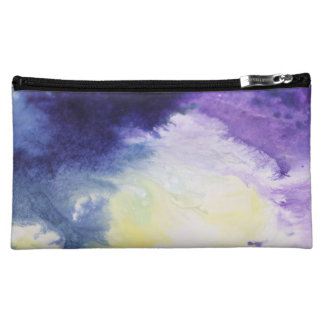 Calm happy blue yellow white abstract painting makeup bag