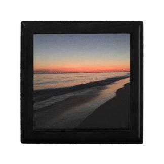 Calm morning beach sunrise small square gift box