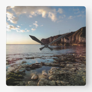 Calm Morning by the Sea Wall Clock