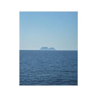 Calm Norwegian blue ocean sky and Lofoten Island Canvas Print