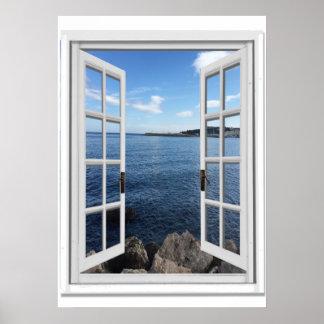 Calm Sea View Trompe l'oeil Fake Window Poster
