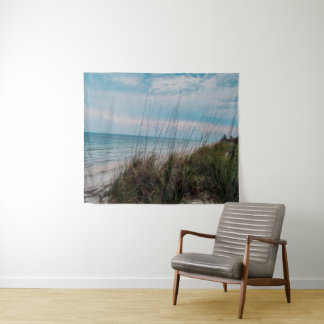 Calming Beach Scene Wall Tapestry