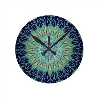 Calming Blue Green Mandala Pattern Wallclock
