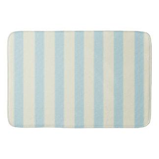 Calming Light Blue and White Wide Vertical Stripes Bath Mats