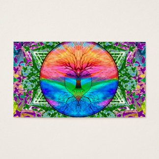 Calming Tree of Life in Rainbow Colours Business Card