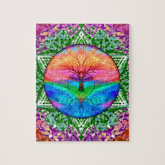 Calming Tree of Life in Rainbow Colours Jigsaw Puzzle