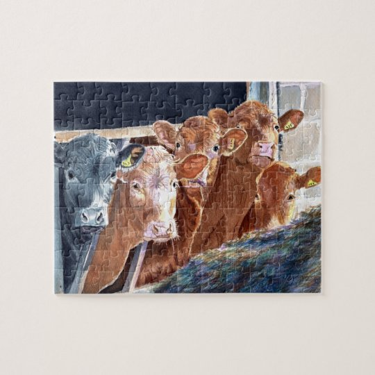 Calves at Brunch Jigsaw Puzzle