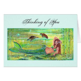 Calypso mermaid with sea turtles card by Renee