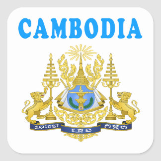 Cambodia Coat Of Arms Designs Square Sticker