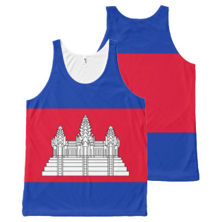 Cambodia Flag All-Over Print Tank Top