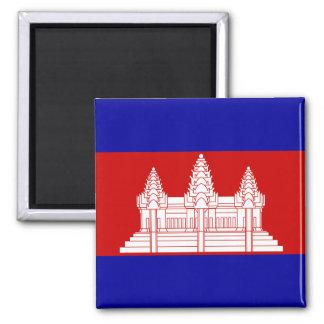 Cambodia Flag KH Square Magnet