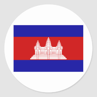 Cambodia Flag KH Round Sticker