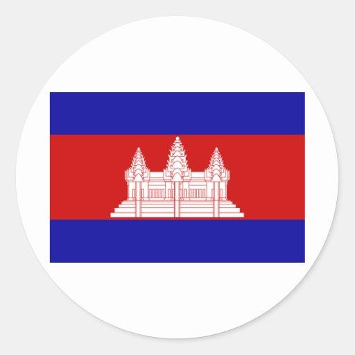 Cambodia Flag KH Round Stickers