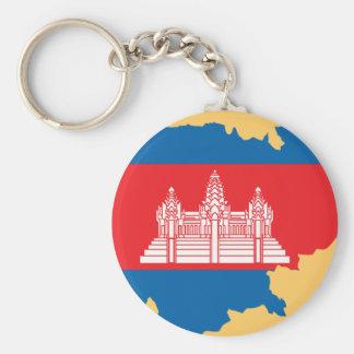 Cambodia flag map key ring