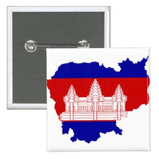 Cambodia Flag map KH 15 Cm Square Badge
