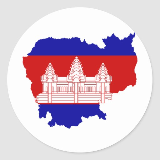 Cambodia Flag map KH Round Sticker