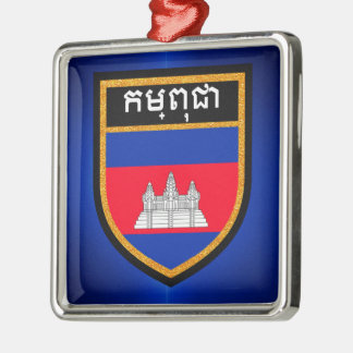 Cambodia Flag Silver-Colored Square Decoration