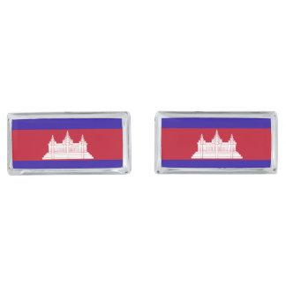 Cambodia Flag Silver Finish Cufflinks