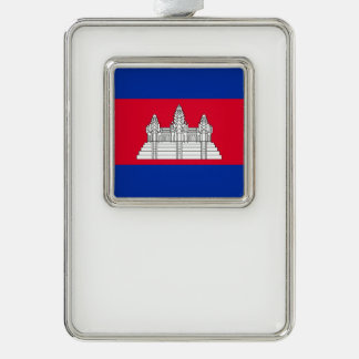 Cambodia Flag Silver Plated Framed Ornament