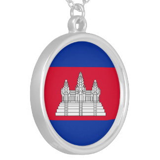 Cambodia Flag Silver Plated Necklace