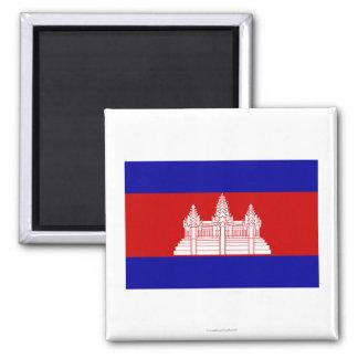 Cambodia Flag Square Magnet