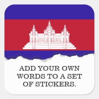 Cambodia Flag Square Sticker
