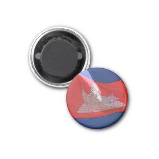 cambodia flag waving 3 cm round magnet